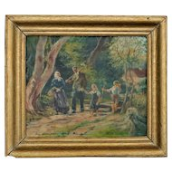 German Painting on Canvas Family in the Woods, Signed by Artist Dated 1949