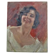 Maresca, Portrait of a Young Woman Oil on Canvas 1930 Italian Painter