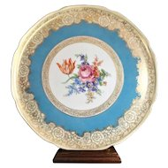 "TIRSCHENREUTH Bavaria Charger 14"" Hand Painted Floral Gold Trim c 1903"