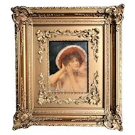 Gaston Casimir Saint-Pierre French 1833-1916 Portrait Painting on Porcelain 1904