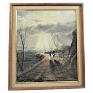 """K. Sato O/C Luminist Painting """"Road to Hope"""" Artist Signed dated 1953"""