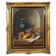 Arthur Munding (b.1922) German Artist, Still Life of Fruit, Vase, Signed