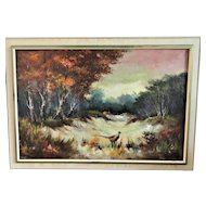 T. Denver Oil on Canvas, Woodland w/ Pheasant, Impressionist, Excellent Work
