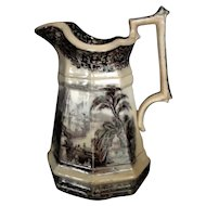 """Peter Holdcroft & Co Transferware Pitcher, Large """"Peru"""" c Early 1800's -RARE"""