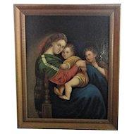 La Madonna della Seggiola, Mary, Jesus, St.John OOC Signed Verso Giovanni Balducci?