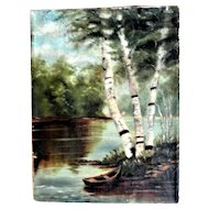 19th Century Oil on Canvas, Lake Scene with Boat and Trees, Unsigned, Unframed