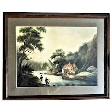 19th Century Watercolor on Board  Men Fishing on Lake in the Mountains