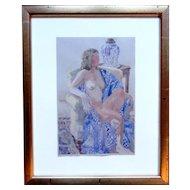 """Michael Walek """"Blue & White"""" Nude Woman Watercolor & Gouache w/ Gallery Sticker"""