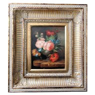 Louis Rosetta Oil On Canvas Still Life of Roses Beautiful Frame