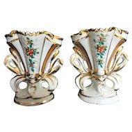 Antique Staffordshire Vase, Pair, Floral Design, Gold Gilt