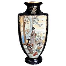 Kinkozan Meiji Japanese Satsuma Vase Cobalt 4 Panel Geisha c 1890, Signed