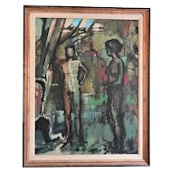 Hennessey, (1920-1998) Abstract Nudes in Woodlands Dated 1981 Oil on Canvas