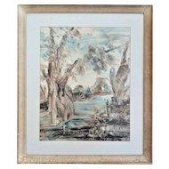 Fern Cunningham Stone (1889-1975) River Scene, Mixed Media Oil, Watercolor