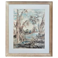 Fern Cunningham Stone (1889-1975) River Scene, Mixed Media Oil, Watercolor