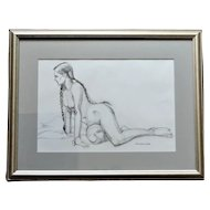"""Bob Donnellan, New England Artist, Maine Artist, Charcoal and Pencil Drawing """"Pigtail Lady"""""""