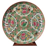 19th C Chinese Export Porcelain Rose Medallion Plate Dish Famille Rose Canton #3