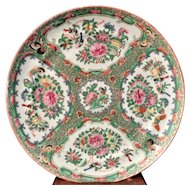 19th C Chinese Export Porcelain Rose Medallion Plate Dish Famille Rose Canton #5