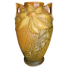 Roseville Pottery Vase Clematis Brown Green Flowered, Double Handle #110-9 c1944
