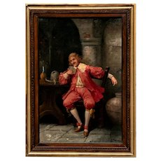 Etienne Painting, Portrait of a Man Playing Cards, 18th Century