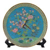 Japanese Cloisonne Plate, Meiji Period, c 1850, Bird, Lotus Flowers, Rare