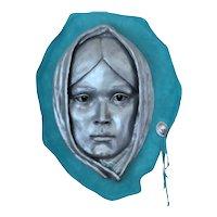 Philip Vickers Art Sculpture Portrait, Native American Woman, Matrix Metal