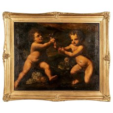 18th C Painting, Two Putti Playing With a Bird, Oil on Canvas
