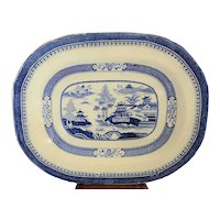 Canton Chinese Export Blue & White Porcelain Platter 18th or 19th Century