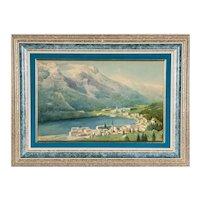 Gottardo Guido Segantini, Painting of Lake Cuomo, Italian Coast