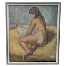 Elyot Henderson Female Nude Oil on Canvas, New England Artist (1908-1975)