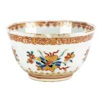 18th Century Chinese Export Ceremonial Tea Bowl Polychrome, Flower Mark