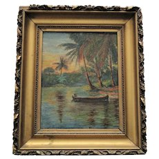Early 20th Century Tropical Landscape Oil Painting, Framed