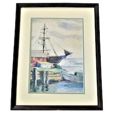Landis Nazzaro Painting, Gloucester or Marblehead Mass. Watercolor