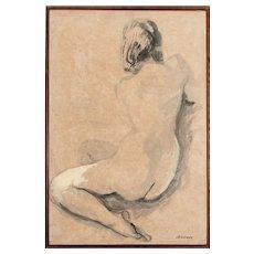 "Frank Brokenshaw ""Brock"" (1912-2004) Nude Study, Ink & Watercolor, Signed"