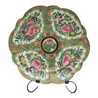 Antique Chinese Plate Famille Rose Famille Verte Scalloped Plate Butterflies
