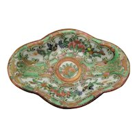 Antique Chinese Plate Famille Rose Famille Verte Scalloped Plate Birds Flowers