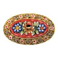 "Micro Mosaic Brooch Antique Gold Tone Floral Millefiori Flower Brooch 1.75"""