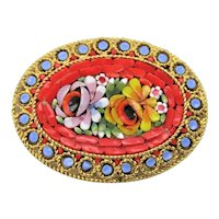 Micro Mosaic Brooch Antique Gold Tone Floral Millefiori Flowers Brooch, Italy