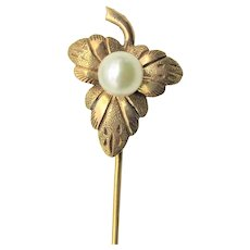 Art Nouveau Stick Pin 14K Gold A Leaf with Pearls Antique Stick Pin