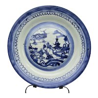 """19c Chinese Export Canton Blue & White Plate 8 7/8"""" (2)"""