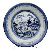 """19c Chinese Export Canton Blue & White Plate 8 7/8"""" (3)"""