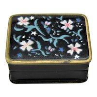 Art Nouveau Volupte Enamel Pill Box or Snuff Box Black Enamel with Flowers