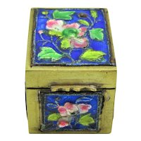Chinese Export Brass Enamel Colorful Floral Postage Stamp Box or Pill Box