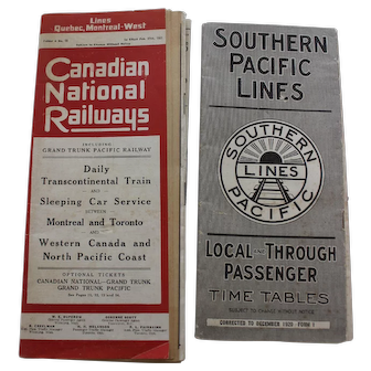 Railway Timetables Canadian Pacific 1921 and Southern Pacific Lines 1920