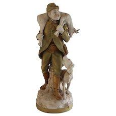 Royal Dux Statue Hunter with Deer across shoulders