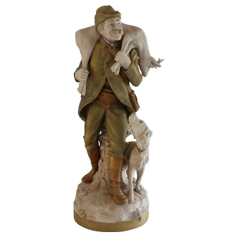 Royal Dux Statue Hunter with Deer across shoulders