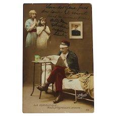 """French card titled """"Le communique - nous progressions encore"""""""