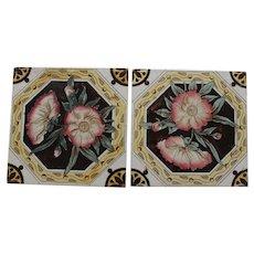 Pair vintage English Transfer Tiles