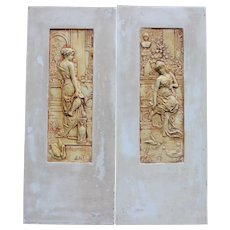 Vintage pair ceramic tiles