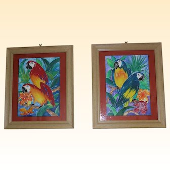 Pair paintings of Macaws by Ille Gerber