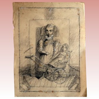 Original Charcoal Pencil Drawing of a Girl with the Doll on Vintage INGRES Paper, by Sergey Kamennoy